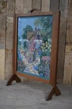 Retro Vintage Solid Wooden Oak Embroidered / Cross Stitch Fire Screen