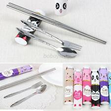 Travel Picnic Fork Spoon Chopsticks Foldable Stainless Steel Mini Tableware Set