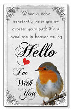 Robin Sympathy Loved One In Heaven Small Wallet Card Keepsake