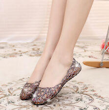 Fashion Women's Casual Shoes Jelly Hollow Out Flat Heel Sandals Flip Flops Size