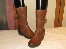FLY LONDON CAMEL LEATHER PLATFORM WEDGE MID-CALF ZIP UP BOOTS UK 7 EU40 RRP £130