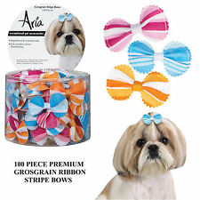 100 pc PREMIUM GROSGRAIN STRIPE DOG Grooming HAIR RIBBON BOW w/ELASTIC BAND