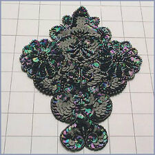 BLACK IRIS DESIGNER MOTIF SEQUIN BEADED APPLIQUE 3455-Z