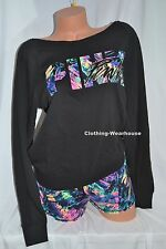 NEW VICTORIA'S SECRET PINK TROPICAL PALM SLOUCHY CREW SWEATSHIRT & SHORTS SET S