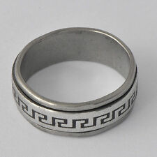 Tibet vintage White Stainless Steel Womens Mens spin Band Ring size 7