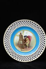 MINTON HAND PAINTED WITH PIERCED EDGE CABINET PLATE
