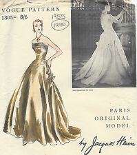 1955 Vintage VOGUE Sewing Pattern B34 DRESS EVENING GOWN (1290) By JACQUES HEIM