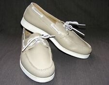 HITCHCOCK Boat Shoe, Beige Leather Two-Eyelet White Sole Moccasin, Size 11