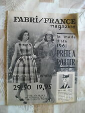 CATALOGUE FABRI/ FRANCE PRET A PORTER ETE 1961- VOIR PHOTOS