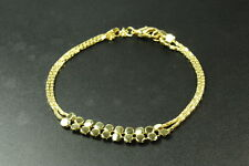 LADIES STYLISH VINTAGE INSPIRED BRIGHT GOLD TONE SLINKY FASHION BRACELET (ZX2)
