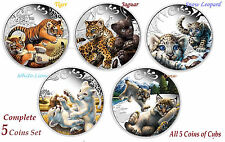 5-coin set 2016 Cubs Tiger Jaguar Snow Leopard White lion Lynx Silver 2.5 oz