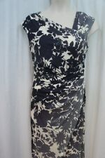 Vera Wang Dress Sz 10 Black White Multi Sleeveless Floral Cocktail Dinner Party