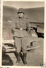 17732/ Originalfoto 9x6cm, Soldat vor LKW, Kennung