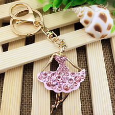 New Dazzling Ballet Beauty Crystal Key chain Keyring Handbag Accessory Pendant