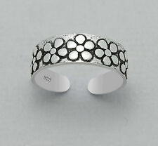 925 Sterling Silver Band of Daisy Flower Design Toe Ring Adjustable Jewellery