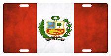 Peru Flag Custom License Plate Peruvian Emblem Dirty Version