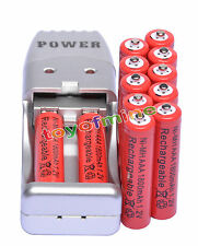 Batteria ricaricabile 12X AAA 3A 1800mah1.2V NiMH USB Charger Red +