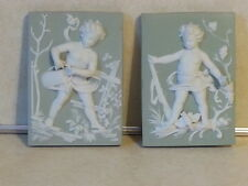 ARNART CREATION SET OF 2 CERAMIC SQUARE 3-D CHERUB WALL PLAQUE DÉCOR GREEN WHITE