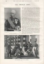 1897 ANTIQUE MILITARY PRINT- THE FRENCH ARMY,GENERAL BILLOT, INFANTRY