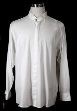 Van Heusen BROADCLOTH COTTON WHITE BANDED COLLAR LONG SLEEVE CASUAL SHIRT Sz 2XL