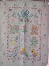 "Handmade Cross Stitch Baby Girl Quilt ""Babies Are Precious"" FINISHED Gift Shower"