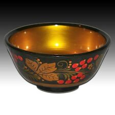"Russian Khokhloma Lacquered Wooden Bowl Hand Made & Painted ""Red Berries"""
