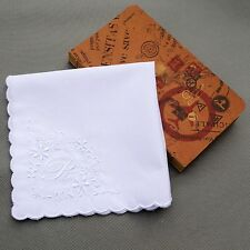 R Initial Vintage Style White Handkerchief Monogrammed Cotton Letter Hanky