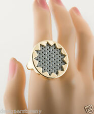 House of Harlow 1960 Gold Plated sunburst ring grey leather