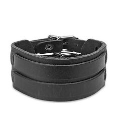 Black Leather Bracelet with Double Strap Belt Buckle Wristband Cuff K20