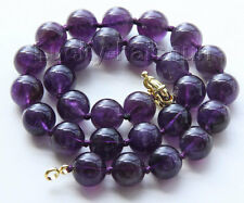 "AAA 100% natural 18"" 14mm round amethyst gemstone beads necklace j9485"