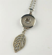 Tibet silver leaf Alloy Pendant With Charm Necklace Fit 18mm Snap Chunk Button