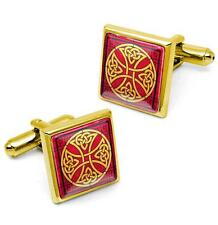 Gold Celtic Irish Cross Knot Stained Glass Design Cufflink Set w/ Box