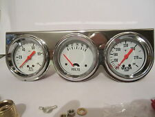 2 5/8 WHITE FACE TRIPLE GAUGE SET MECANICAL WATER TEMP OIL PRESS and VOLT GAUGES