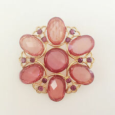 New Golden Flower Peach Crystal Round Crystals Pendant Charm Brooch Pin BR1210