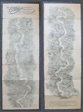 Lithografisches Leporello-l' Elba ZW. Leitmeritz-Mühl Berg-leader per 1920 XZ