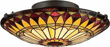 Tiffany Victorian Style 2-light Vintage Bronze Flush Mount Stain Glass Ceiling