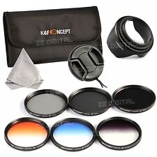 52mm ND2 4 8 Graduated Grey Filter Kit Lens Hood Cap For Nikon D5200 D3200 18-55