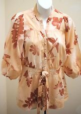 Lux Urban Outfitters S Top Peach Bird Leaf Dolman 3/4 Slv Boho Smocked Tunic