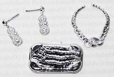 JEWELRY CLUTCH LOT (CN1) ~ BARBIE SILVER PLASTIC EARRINGS NECKLACE PURSE LOT