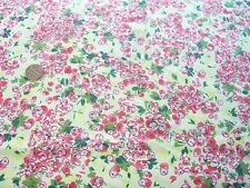 DITSY FLORAL STRETCH COTTON TWILL-YELLOW/GREEN/PINK -DRESS/CRAFT FABRIC-FREE P&P