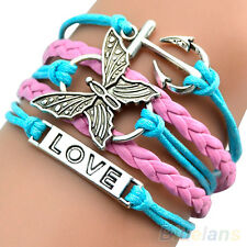 Lady Women Girl Personality Multilayer Butterfly Anchor Leather Bracelet Bangle
