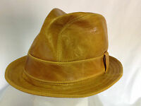 Jill Corbett Fedora 'Snatch' hat whisky leather Handmade in England S/M/L/XL