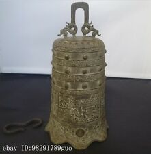 "9"" China Bronze Buddhism Auspicious Dragon Head Man Statue Temple Bell"
