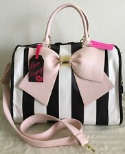 Betsey Johnson Bow Nanza Striped Blush Pink Weekender Travel Duffle Bag NWT