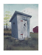 New Country Primitive Rustic Double Seater OUTHOUSE Barn Wall Art Picture