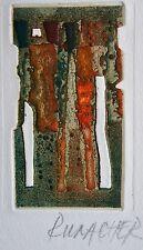 RUMACHER SUZANNE : Eau forte originale signée. Carte de vœux 1973. Envoi autogra