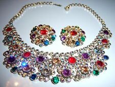 VTG JULIANA AB COLORFUL RHINESTONE BIB NECKLACE EARRING SET DEMI PARURE
