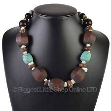 NEW Ladies Chunky Wood & Turquoise Statement NECKLACE Stylish Holiday Classic