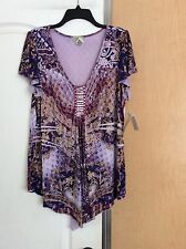 New One World-Purple/Multi  Color Printed/sequences Front Women Top Plus Size XL