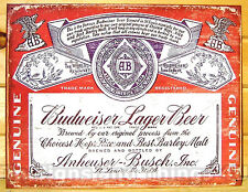 Budweiser Lager Vtg Bottle Label TIN SIGN bud beer bar metal wall decor ad 1751